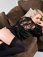 Alexa Grace British Model teasing in animal print lingerie and black stockings