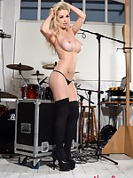 British Model Alexa Grace teasing in her black lingerie on the drums